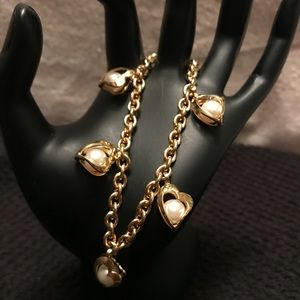 Vintage Gold Toned Heart Caged Pearl Bracelet